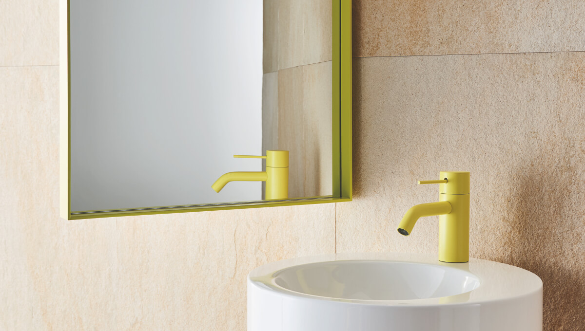 dornbracht meta yellow bathroom inspiration