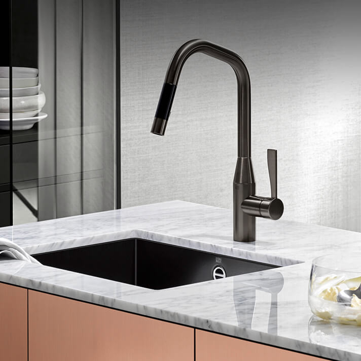 Dornbracht Sync Dark Platinum matte kitchen inspiration
